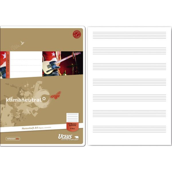 Ursus Musikheft Green A4 Notenlinien weiß 8 Blatt 040408012