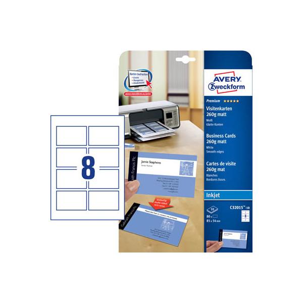 Zweckform C32015-10 Visitenkarten weiß matt 85 x 54 mm 260g 80 Stück
