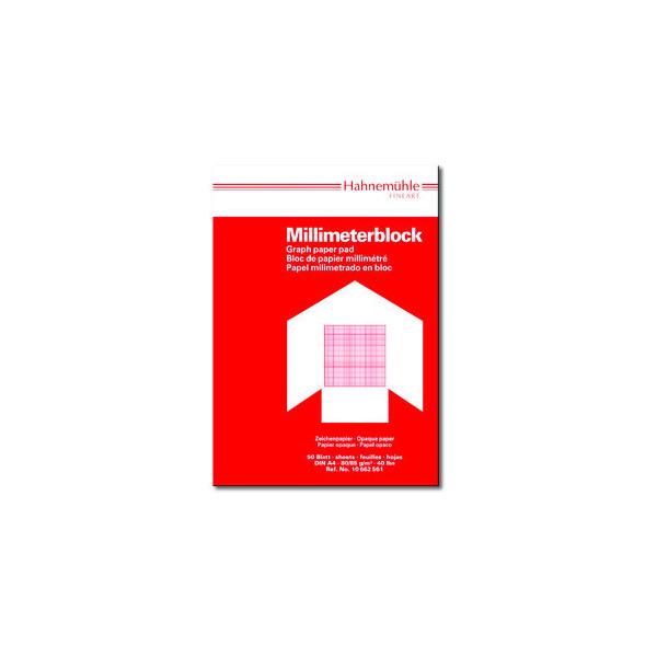 Hahnemühle Millimeterpapier A4 rot/opak 80/85g 1mm-Teilung 50 Blatt