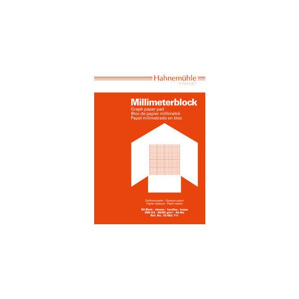 Hahnemühle Millimeterpapier A3 rot/opak 80/85g 1mm-Teilung 50 Blatt