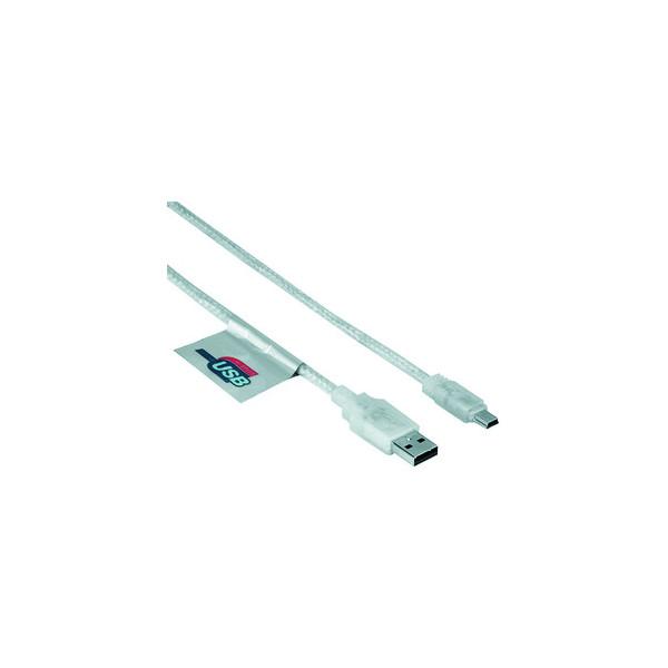 Hama USB2.0-Kabel A-u.MiniB-Steck. transp. 1,8m USB 2.0