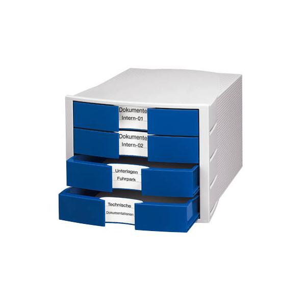 Han Schubladenbox Impuls 1010-14 lichtgrau/blau 4 Schubladen geschlossen