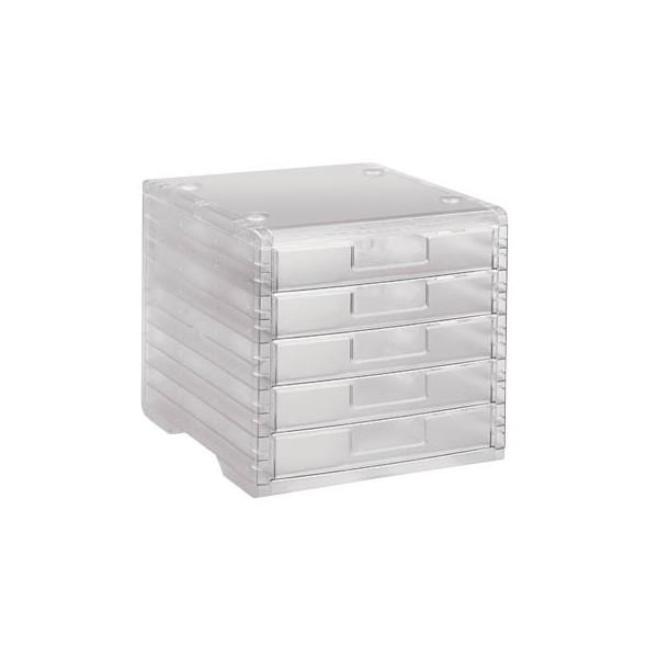 Styro Schubladenbox Lightbox 275-8419.224 transparent/transparent 5 Schubladen geschlossen