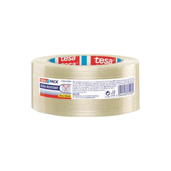 (0,13 EUR/1 m) tesa Packband Tesapack ultra resistant 45900-00000-00, 50mm x 50m, Monofilament, fadenverstärkt, transparent