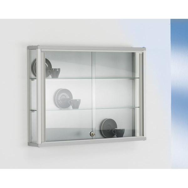 BST Wand / Sammlervitrine Dekor Silber mit 3-seitiger Verglasung