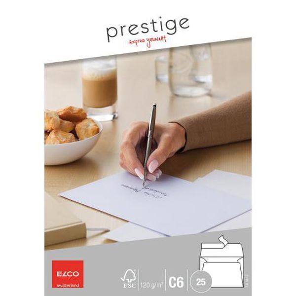 Elco Briefumschläge Prestige C6 ohne Fenster haftklebend 120g weiß 25 Stück