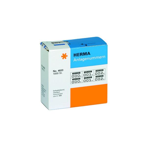 Herma Anlagenummern 2-fach selbstklebend 0-999 blau / schwarz 15 x 22mm 4833