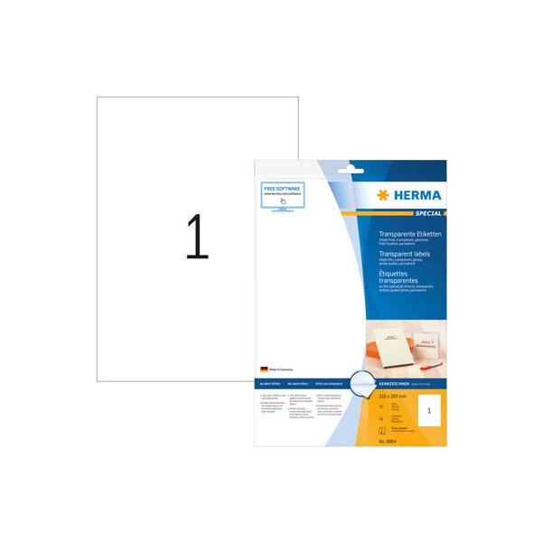 Herma Etiketten 8964 210 x 297 mm transparent Folie A4 10 Stück