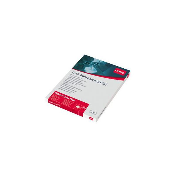 Nobo Kopierfolie 33638782, A4, für S/W-Laserdrucker, Farb-Laserdrucker, S/W-Kopierer, Farb-Kopierer, 0,12mm, Overhead-Folie, transpa