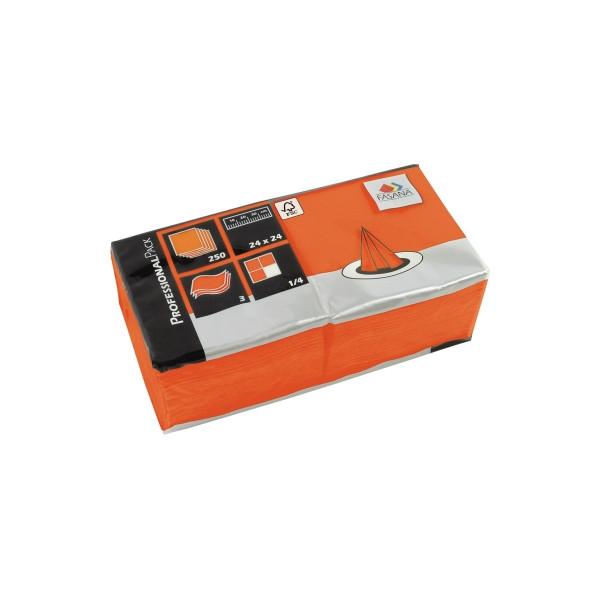 Fasana Servietten 24x24cm orange 3-lagig 1/4-Falz 250 Stück