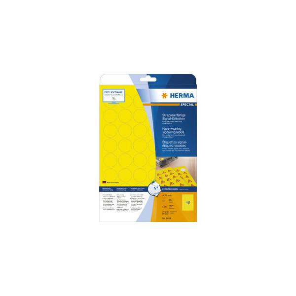 Herma Etiketten Folie D: 30mm gelb D: 30mm 1200 St