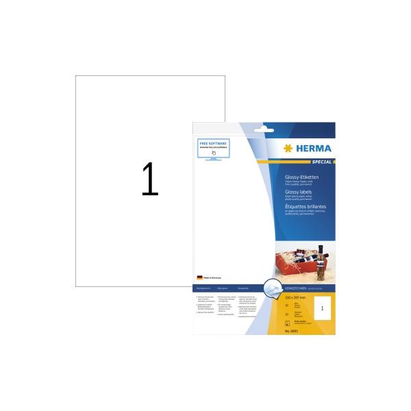 HERMA Etikett 210x297mm weiss glossy A4 10Et 10Bl 1Et Bl Inkjet