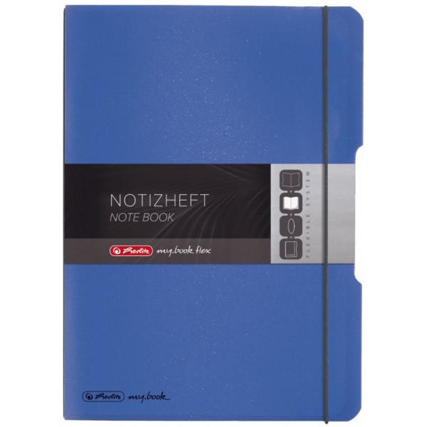 Herlitz Notizheft flex PP, liniert + kariert (je 40 Blatt), Papier 80g, blau,