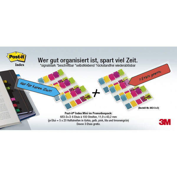 3M Post-it Index Mini, 6 x 100 Streifen, 11,9 x 43,2 mm, 3 Etuis dvon gratis,