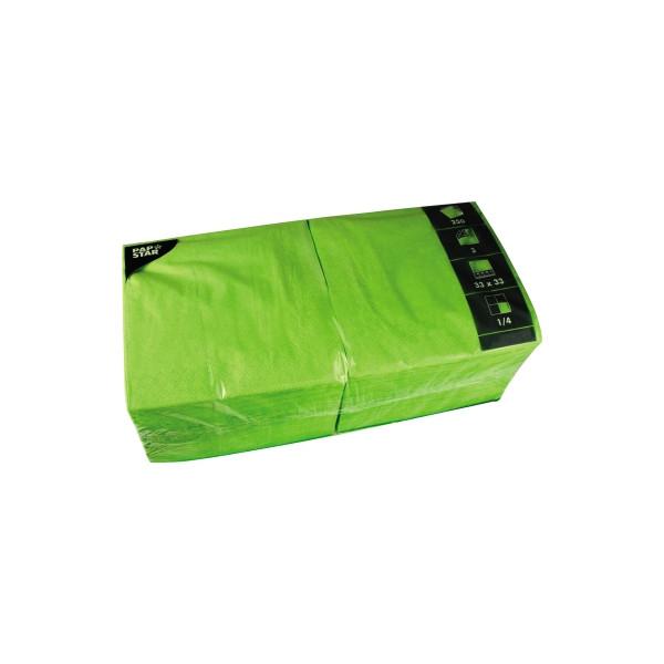 PAPSTAR Serviette 3-lagig 33x33cm 1/4 Falz 3-lagig apfelgrün unifarbig