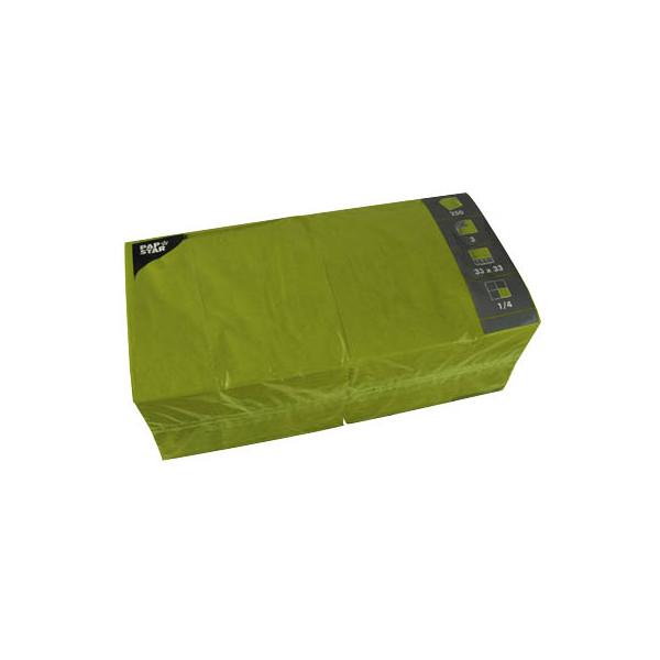 PAPSTAR Serviette 3-lagig 33x33cm 1/4 Falz 3-lagig olivgrün unifarbig