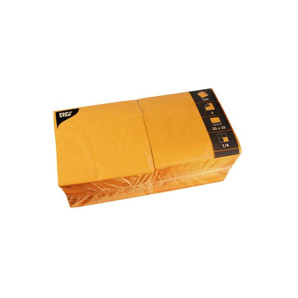 PAPSTAR Serviette 3-lagig 33x33cm 1/4 Falz 3-lagig orange unifarbig