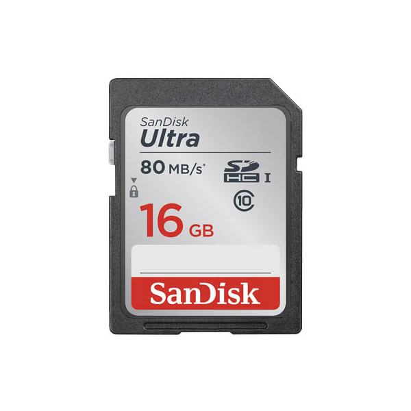 Sandisk SDHC Ultra, Class 10, UHS-I 80MB-Sec 16GB