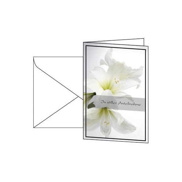 Sigel Trauerkarte Amaryllis inkl.Um. weiß 115x170mm 10 St