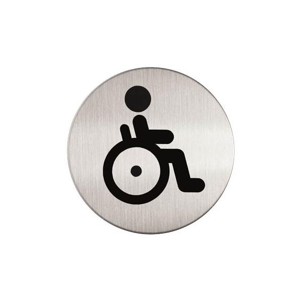 """Durable Piktogramm """"Behinderten-WC"""" rund metallic silber Ø 83mm"""