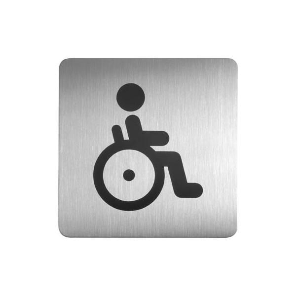 """Durable Piktogramm Symbol """"Behinderten-WC"""" eckig metallic silber 150x150mm"""