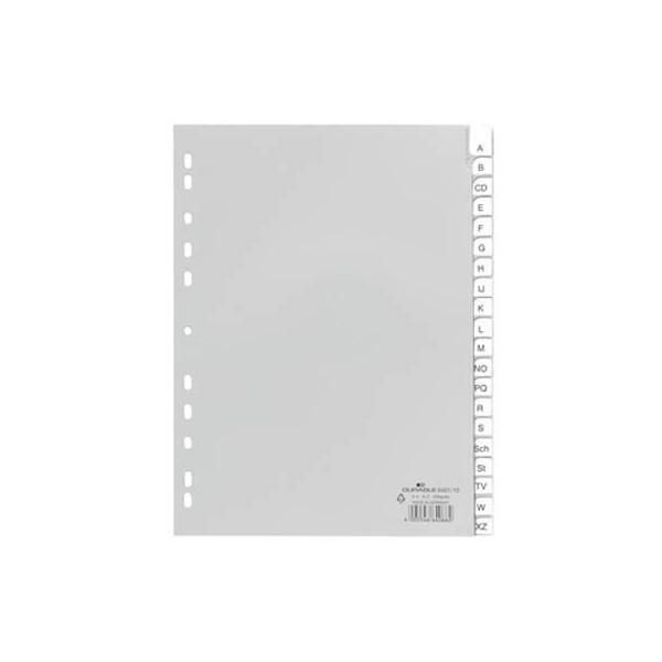 Durable Kunststoffregister 6401-10 A-Z A4 0,12mm graue Fenstertabe zum wechseln 20-teilig