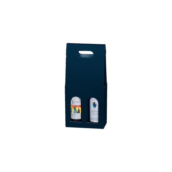 Geschenktragetasche für 2 Flaschen blau 18x9x36,5cm