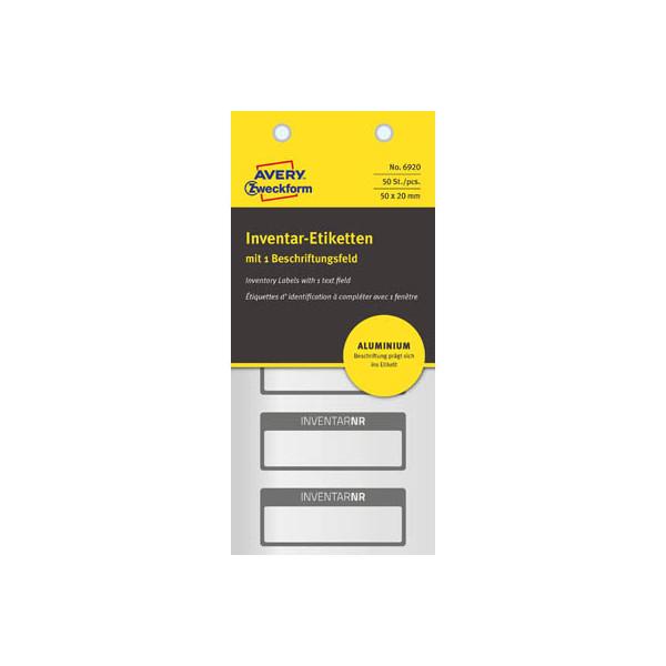 Zweckform Inventar-Etikett Aluminium Folie schwarz, 50x20mm, 1 Beschriftungsfeld