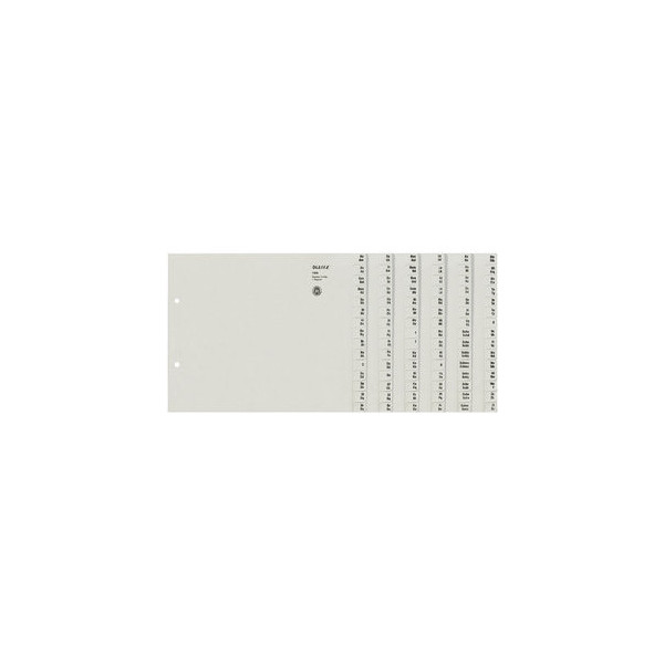 Leitz Kartonregister 1306-00-85 A-Z A4 halbe Höhe 100g graue Taben für 6 Ordner 20-teilig