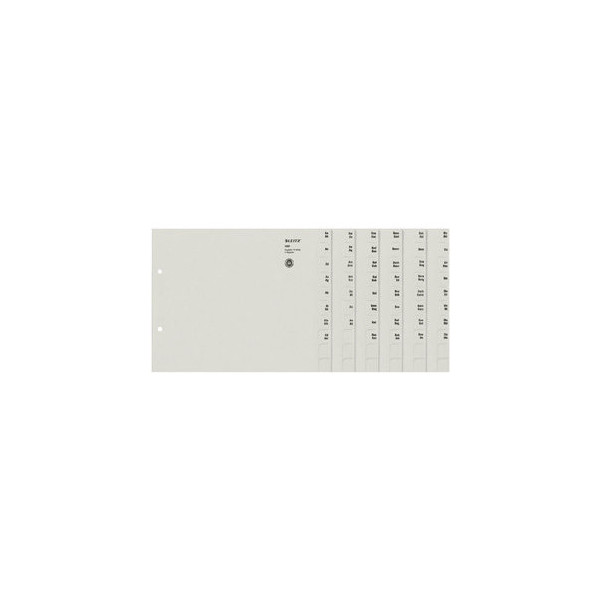 Leitz Kartonregister 1351-00-85 A-Z A4 halbe Höhe 100g graue Taben für 75 Ordner 20-teilig