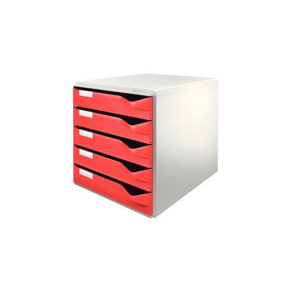 Leitz Schubladenbox Post-Set 5280-00-25 lichtgrau/rot 5 Schubladen geschlossen