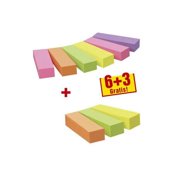 Post-it Index Haftstreifen Page Marker 6+3 gratis neon sortiert 5-farbig 9x100 Bl