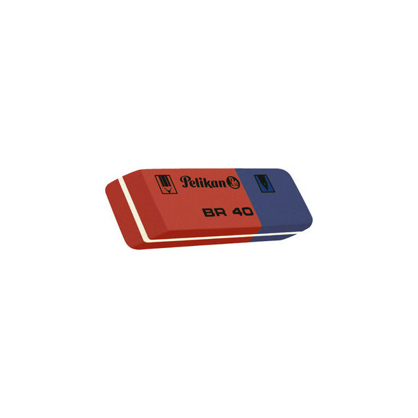 Pelikan Radierer für Bleistift/Farbstift/Tinte blau/rot BR40 Kautschuk