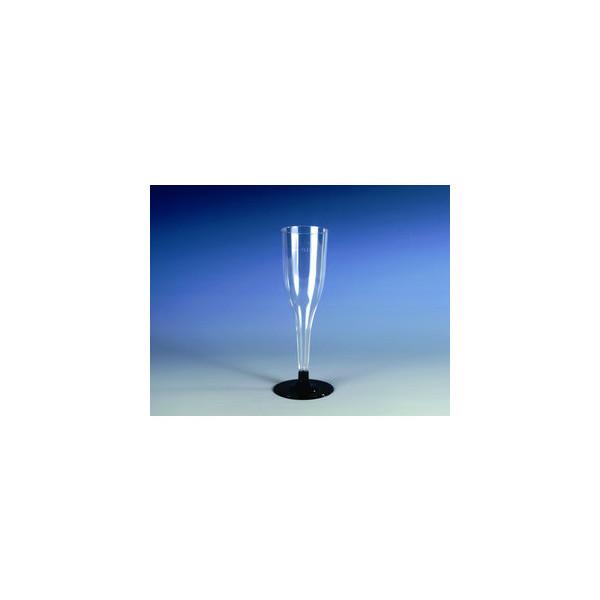 Papstar Einweg-Sektgläser PS 0,1 L farblos/schwarz D:51/H:180mm 6 Stück