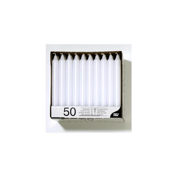 Papstar Tafelkerze Paraffin ca.7h weiß 21 x 196mm DxH 50 Stück