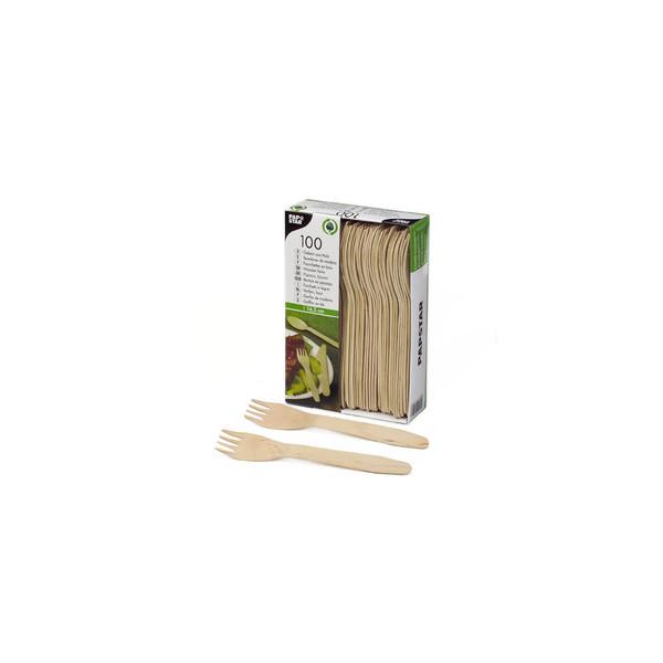 Papstar Gabel 16,5cm braun Birkenholz 100 Stück