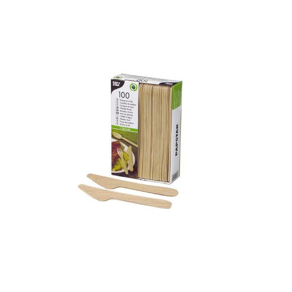 Papstar Messer 16,5cm braun Birkenholz 100 Stück
