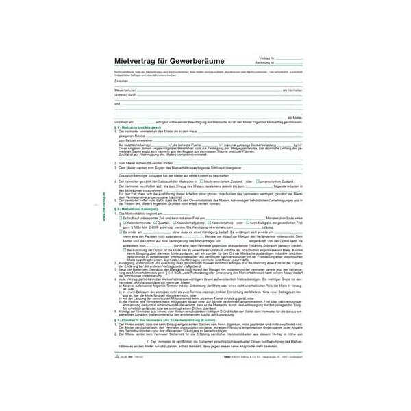 RNK Mietvertrag für Gewerberäume 5 Blatt A4