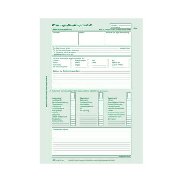 RNK Wohnungs-Abnahmeprotokoll selbstdurchschreibend A4 2x2 Blatt