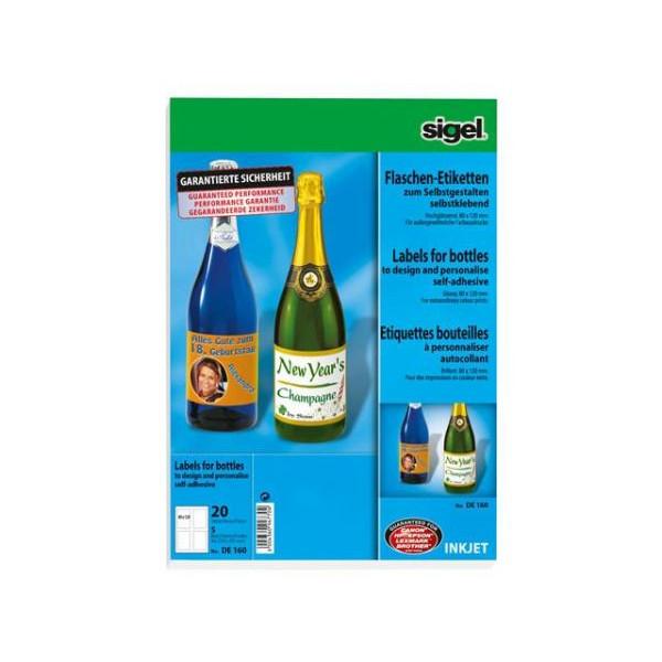 Sigel Design Flaschenetiketten weiß 80 x 120mm DE160