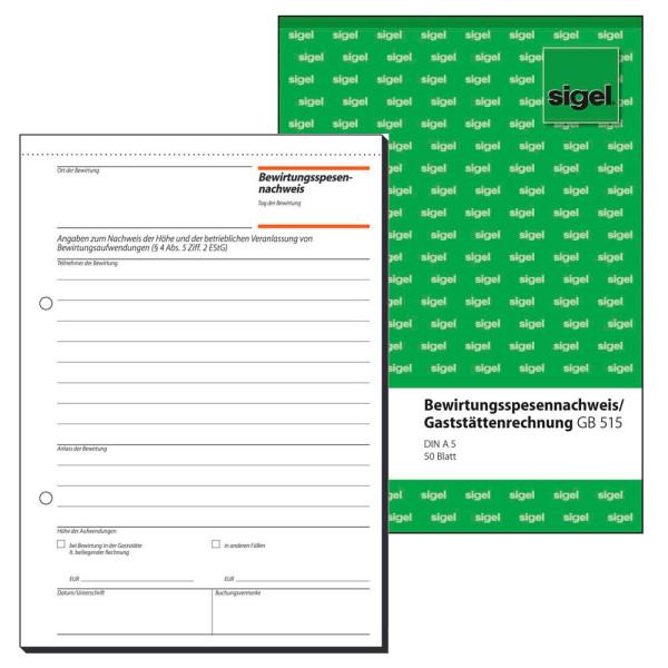 Sigel Gaststättenabrechnung GB515 weiß A5 50 Blatt