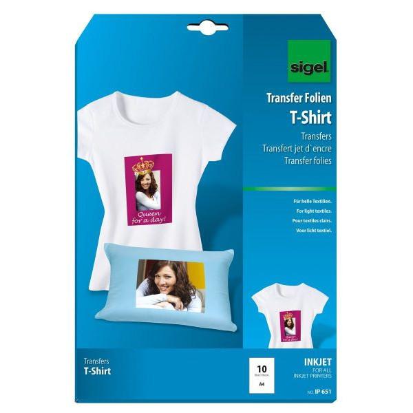 Sigel Inkjet Transfer f. T-Shirts A4 hell.Tex A4-110um 10 St