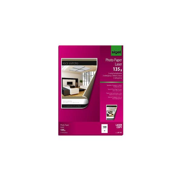 Sigel Laser-Fotopapier A4 LP-140 beidseitig glänzend 135g 100 Blatt