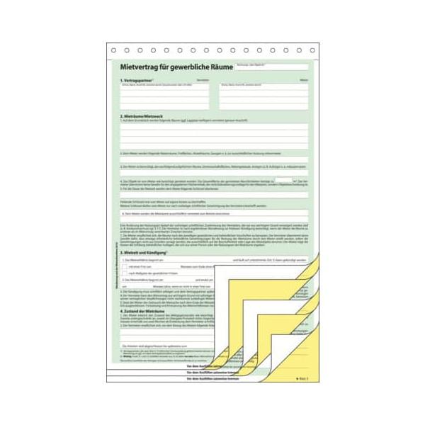 Sigel Mietvertrag Gewerberäume A4 hoch 3x2 Blatt