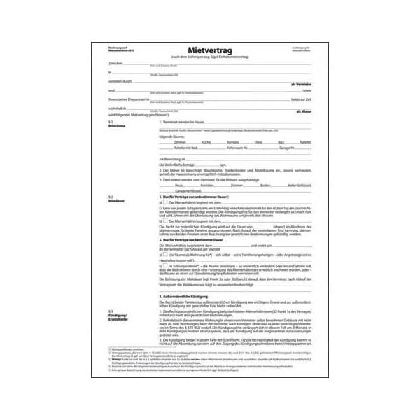 Sigel Einheitsmietvertrag 6-seitig A4 3 Blatt