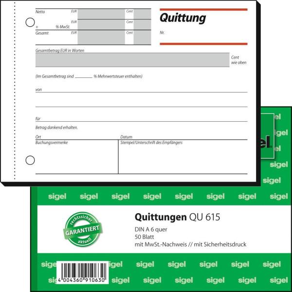 Sigel Quittung QU615 mit MwSt. A6 quer 50 Blatt