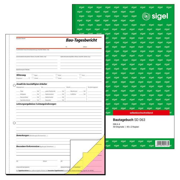 Sigel Bautagebuch SD063 A4 hoch 3x40 Blatt