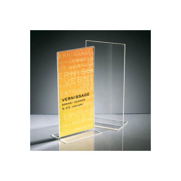 Sigel Tischaufsteller TA224 T-Form Din Lang hoch glasklar für beidseitige Präsentation