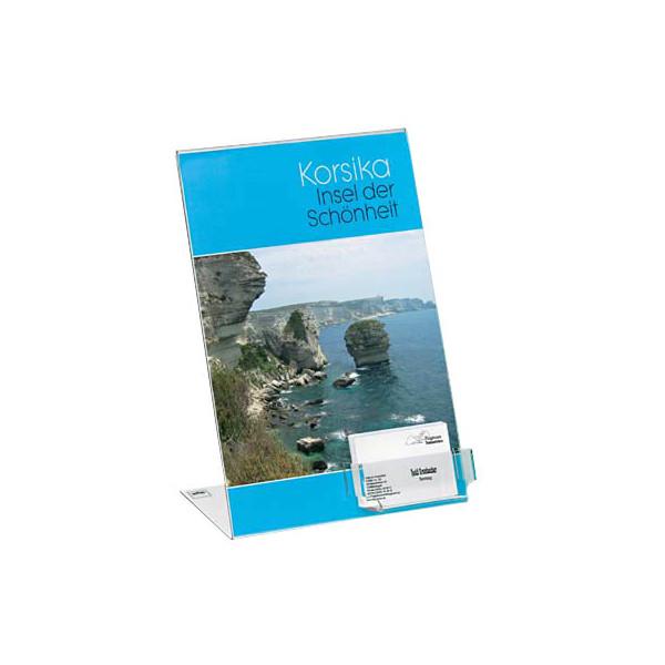 Sigel Tischaufsteller TA230 schräg A4 glasklar für einseitige Präsentation mit Visitenkartenfach
