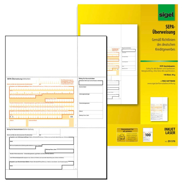 Sigel PC SEPA Überweisung A4 90g 100 Blatt ZV 570